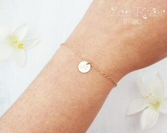 Choose rose gold, silver or gold personalized initial disc bracelet. Dainty initial bracelet. Rose gold initial bracelet. Silver initial.