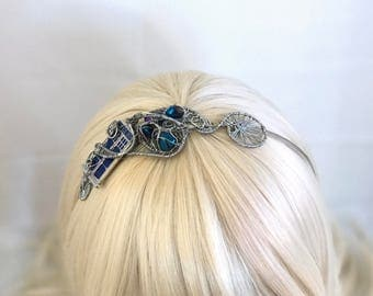 Silver Wire Wrap TARDIS Steampunk Headband