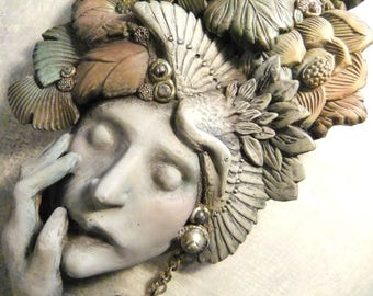 Janus Mask, Original Sculpture, Wall Mask, Yin and Yang, Hand Sculpted Clay, Past and Future, Fortune Teller