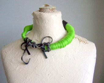 big sale ... Wrapped Necklace, Freeform Necklace, Leather, Cord, Choker ,OOAK, green naecklace
