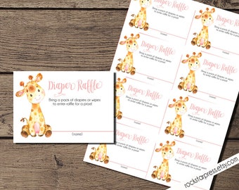 Giraffe Girl Diaper Raffle Tickets, Digital File, IMMEDIATE DOWNLOAD _1306