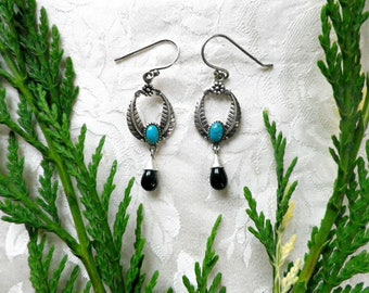 Art Nouveau style silver earrings with turquoise and black gemstone, antique style 925 silver drop earrings in gift box, gift for her