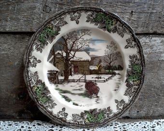 Johnson Brothers Friendly Village Turkey Plate, Thanksgiving Plate, Turkey Plate, Serving Plate, Polychrome Plate, England Plate