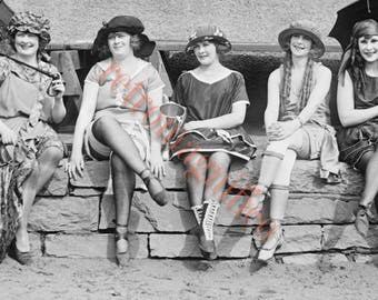 1920s Bathing Beauties, swimsuits vintage image digital download for art print, scrapbooking, mixed media, altered art,
