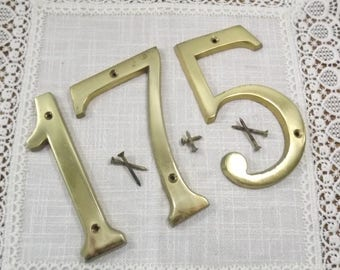 Brass Numbers, Exterior Home Decor, Outdoor Curb Appeal~ Large Easy to See Numbers