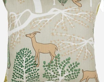 Pillow cover beige Brown animals green trees Modern Scandinavian Decorative pillow for Throw pillows Floor Cushions Accent Pillows