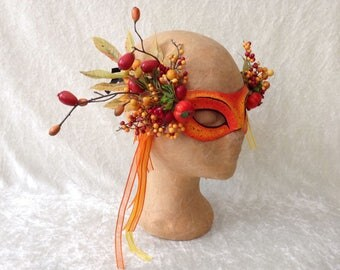 Eye mask (fine): ' Fancy autumn berries '  - handmade, artistic, traditional mask