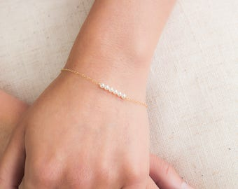 Dainty Pearl Bracelet with 14k Gold Filled Fine Chain, Delicate, Simple Bridal or Bridesmaids Jewelry