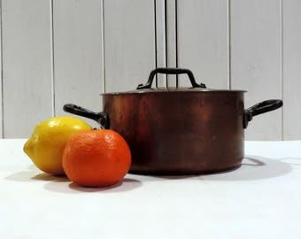 Small Pierre Vergnes 2mm copper stock pot, sauce pan, sautee pan, casserole with brass handles, vintage french professional cooking pot