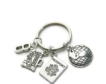 Passport, Earth And Suitcase Keychain, Travel Keychain, Traveler Keychain, Earth Keychain, Passport Keychain, Suitcase Keychain,Personalized