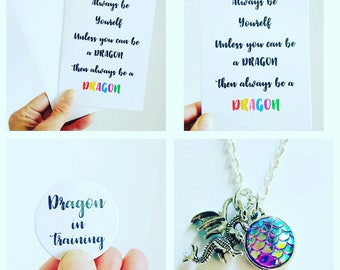 Dragon gift set, dragon charm, mythical dragon, be a dragon, notebook, pin badge, dragon gift box, Gift for her, birthday gift set, dragon
