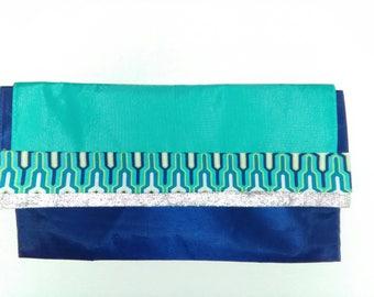 Royal blue wedding clutch
