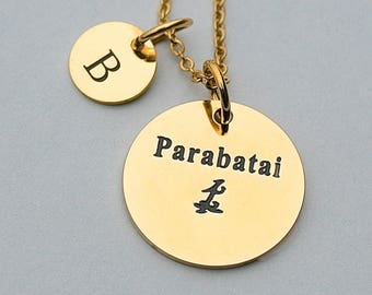 "Gold Stainless Steel Charm "" Parabatai  "" Gold Charm Necklace, Gold Stainless Steel Chain, Gift For Her,"