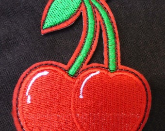 Embroidered patch fusible large cherry pin up x 1