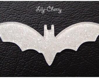 Cabochon bat applique mouse brilliant white x 1