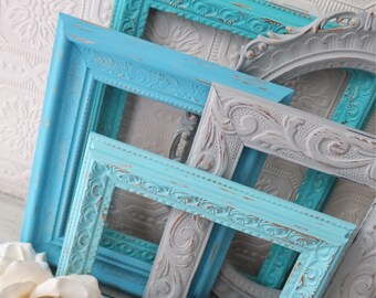 Empty Picture Frame Set Of 5 Grey and Blue Shabby Chic Wall Decor