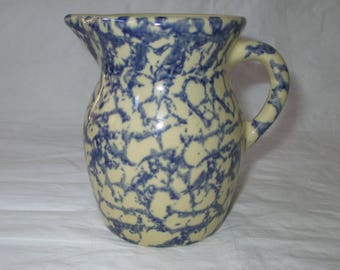 "RRPCo Robinson Ransbottom 4.75"" Blue Spongeware Stoneware Pitcher, 1-pint (c. 1950s)"