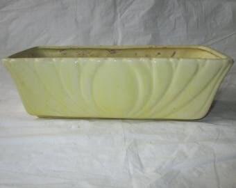 "10.75"" Brush Pottery Garden Dish #896, Buttery Yellow, 1950s"