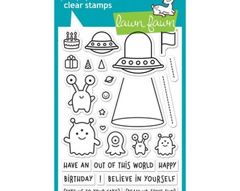 Lawn Fawn Clear Stamps and Matching Dies- Beam Me Up, Space, UFO, Martians