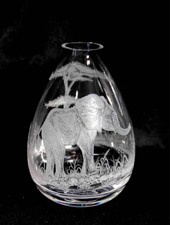 Hand Engraved Bud Vase, Small Glass Vase, Elephant Vase, Art Deco Vase, Engraved Vase, Mini Vase Etched, Crystal Bud Vase