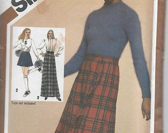 Vintage 1980's Simplicity 9812 Size 14 Waist 28 Misses' Pleated Cheer Skirt in Three Lengths Sewing Pattern 1980 Uncut