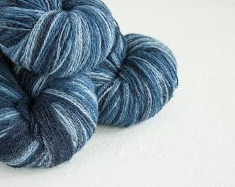 Gradient Aade Long artistic wool, Yarn for knitting, crochet.  Blue  gradient yarn