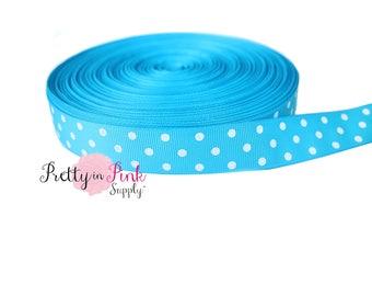 "Blue/White Polka Dot Grosgrain Ribbon- 7/8"" Grosgrain Ribbon- 7/8"" Grosgrain Ribbon- Craft Supplies- Hair bow Headband D.I.Y Supplies"