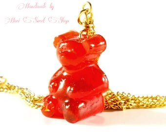 Red Gummy Bear Pendant Necklace, Kawaii Sweets, Cute Food Jewelry, Resin Candy Accessories, Sweet Lolita, Gyaru, Harajuku Fashion
