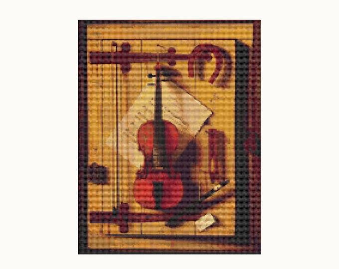 Still Life of Violin and Music Cross Stitch Pattern PDF by William Michael Hartnett (HARNE04)