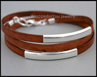 LEATHER Wrap Bracelet - Flat Genuine Natural Leather Cord w/ Large Silver TUBES - Double Triple Adjustable Boho Leather Wrap Bangle Bracelet