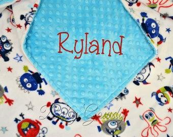 Personalized Minky Baby Blanket - Monster Minky - Turquoise Minky Dimple Dot - Custom Baby Blanket - Monogrammed Blanket