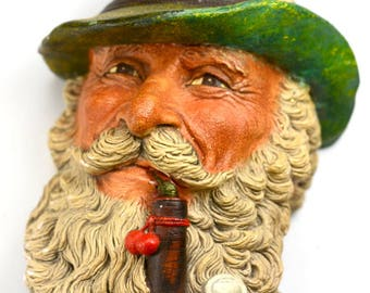 Bossons Chalkware Congleton England Head Hat Pipe Tyrolean With Pipe 1972