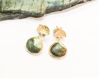 Labradorite and Gold Stud Earrings