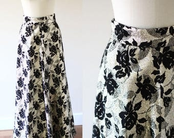 1960s gold floral maxi skirt // vintage gold and black skirt // vintage maxi skirt