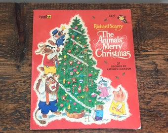 SALE! Vintage Golden Book The Animals'  Merry Christmas - Extra Large Size / By Richard Scarry / A Little Golden Book / Kathryn Jackson