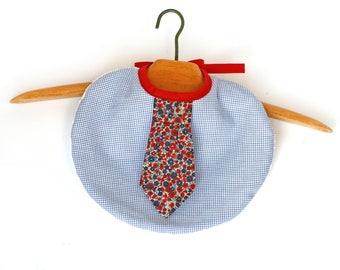 Chic bib baby boy tie floral red and blue