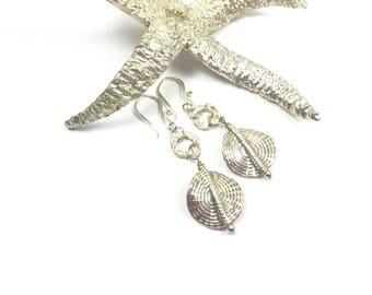 Silver Earrings, Sterling Silver Earrings, Disk Earrings, Round Silver Earrings, Dangle Earrings, Sterling Silver Jewelry, Circle Earrings