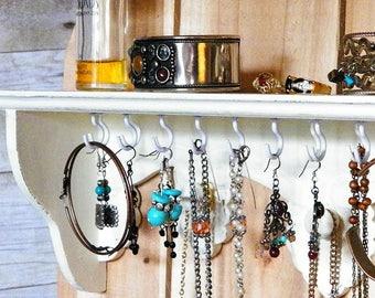 White Cottage Chic Jewelry Organizer.