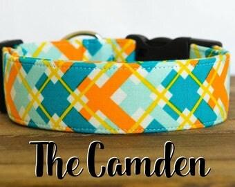 "Orange and Turquoise Modern Dapper Plaid Dog Collar ""The Camden"""