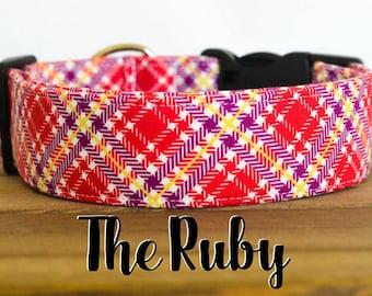 "Dark Red & Purple Modern Girly Plaid Dog Collar ""The Ruby"""