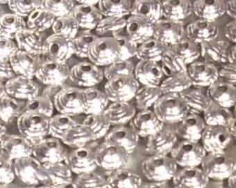 Set of 20 nickel free silver plated 4mm spacer beads