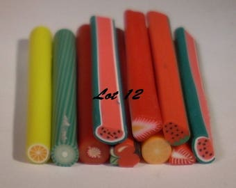 Set of 10 fruit 50 set no. 12 mm polymer clay canes