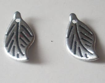 Beads charm leaf 20 X 8 mm silver plated ccb