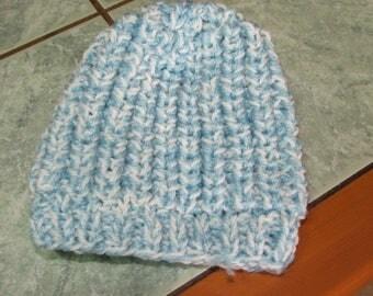 Beanie Baby Blue-dark/white beaded sides - month-3/6 - handmade