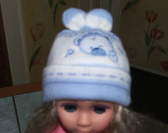 White and blue wool baby Hat age 0/12 Teddy bear