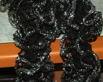 Handmade: Black ruffle scarf with silver edge