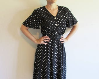 Black and White Polka Dot 90s does 40s Button up Modest Day Dress