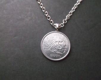 Brasil 50 Cenavos Coin Necklace -Brasil Coin Pendant