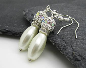 Ivory Pearl Drop Earrings, Rhinestone Drops, Ivory Wedding, Bridal Jewellery,