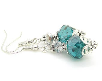Teal Bridesmaid Jewellery, Crystal Drop Earrings, Teal Wedding Earrings, Bridesmaid Gifts, Bridal Party Jewellery Sets, Teal Crystal Dangles